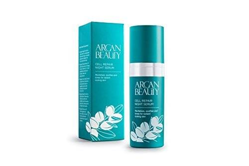 Argan Beauty Cell Repair Night Serum 30ml. Organic Argan Oil Revitalising, Soothing and Toning Skin Serum. Rich in vitamin E, B, C, omega 3 and 6, and palmitoleic acid. by Argan Beauty