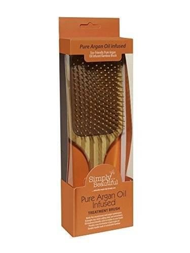 Simply Beautiful Pure Argan Oil Infused Bamboo Paddle Hair Brush. Infused With 100% Argan Oil to Improve Shine, Prevent Hair Breakage, Split Ends and Increase Hair Strength