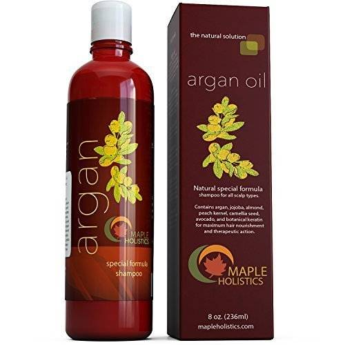 Maple Holistics Argan Oil Shampoo, Sulfate Free, 8 oz. - With Argan, Jojoba, Avocado, Almond, Peach Kernel, Camellia Seed, and Keratin - 100% Safe for Color Treated Hair - For Men, Women, and Teens - All Hair Types - Most Beneficial Haircare Product Avail