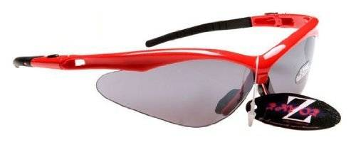 Ray-Zor Rayzor Professional Lightweight Red UV400 Sports Wrap Cycling Sunglasses, With a Smoked Mirrored Anti-Glare Lens.