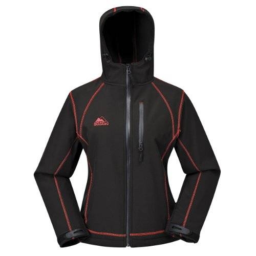 COX SWAIN women soft shell jacket Luyu - 10.000mm waterproof - 2.000mm breathable, Colour: Black/Pink, Size: M