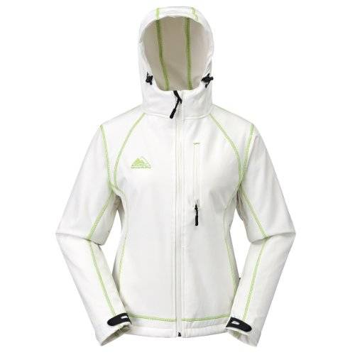 COX SWAIN women soft shell jacket Luyu - 10.000mm waterproof - 2.000mm breathable, Colour: White/Green, Size: XL
