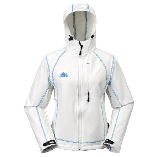 COX SWAIN women soft shell jacket Luyu - 10.000mm waterproof - 2.000mm breathable, Colour: White/Blue, Size: XL