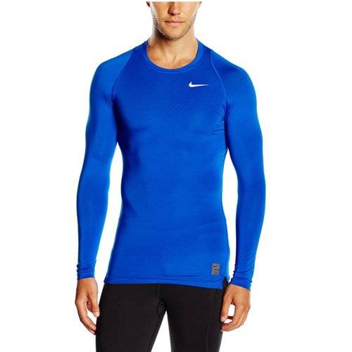 Nike Long Sleeve Pro Cool Compression Camiseta, Hombre, Azul / Blanco, L