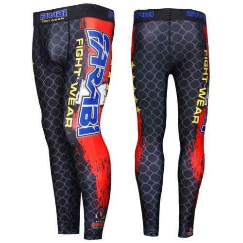Farabi Sports Farabi compression trouser MMA base layer fitness tight skin sports pants with groin guard (Black/red, Medium)