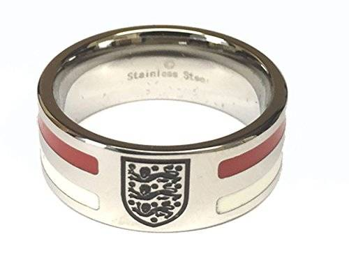 England Football Gifts Acero inoxidable England FA rayas banda ring-size U