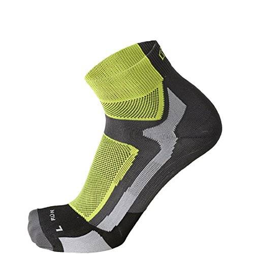 Mico Calcetines Running Professional Light Hombre 1287, Antracite/Giallo Fluo
