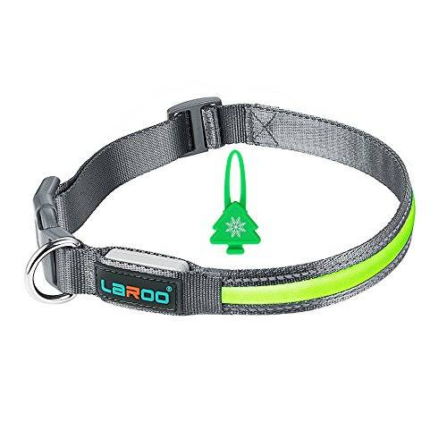LaRooTM LED Collar Perros, LaRooTM Intermitente Llev Collar de Seguridad para Perros de LED de Nylon Luminous Que Brilla en la Noche con Un USB Recargable Collar Brillante de Seguridad para Los Perros (Collar y Blinker-Green)