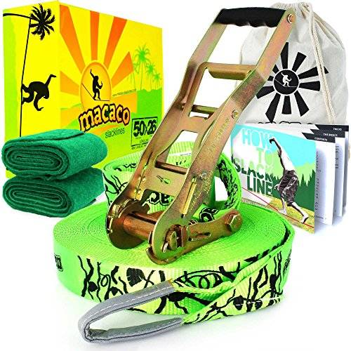 Macaco Slackline 26m Long (50mm Wide) Incl Ratchet, Bag and 'How to Slackline' Booklet! by Macaco