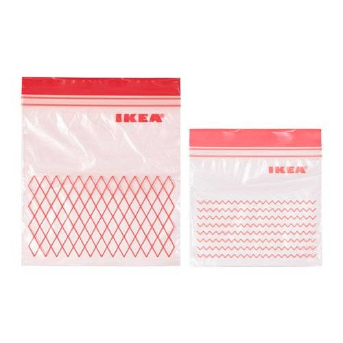ISTAD Plastic Bag, Green, Comprises: 30 bags (0.4 l) and 30 bags (1 l), Can be used over and over again since it can be re-sealed. by Ikea