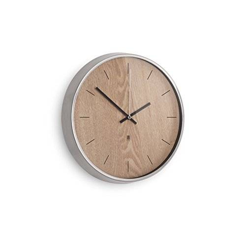 Umbra 118413-392 - Reloj de pared, madera natural y níquel