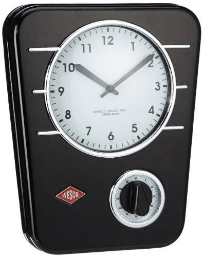 Wenko Wesco 322401-62 - Reloj analógico de metal para pared, incluye pila AA, color negro