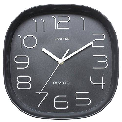 KOOK TIME PRODUCTS Kook Time Reloj Pared Retro Cuadrado, Negro, 28.5x28.5x5.2 cm
