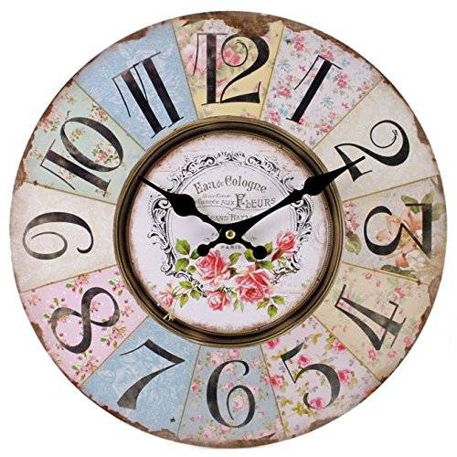 Something Different Reloj de pared de Shabby Chic, diseño Floral de retazos, Vintage para sala de estar, dormitorio y cocina, Multicolor, bonito, de estilo retro
