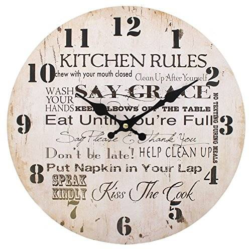 Hunky Dory Gifts Jones Home and Gift Kitchen Rules Clock, Multi-Colour, 34 cm by Jones Home and Gift