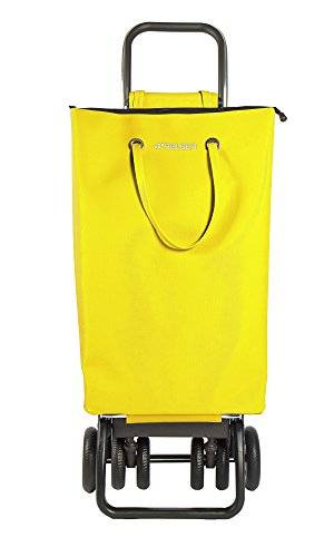 Rolser SuperBag Logic TOUR - Carro de la compra plegable de 6 ruedas, 2 giratorias,  color amarillo