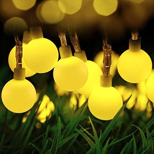 Loende Globe Ball fairystring Lights, loende 50LED Waterproof Dimmable battery operated Xmas Festival Starry Decorations Lights for Indoor Outdoor Party Tree Bedroom Wedding Seasonal Holiday (Warm White, 50 LEDs, 8 Mode, Waterproof, Remote Control)