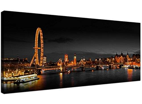 Wallfillers Panoramic Canvas Art of the London Eye at Night for your Living Room - 1186 - Wallfillers® by Wallfillers