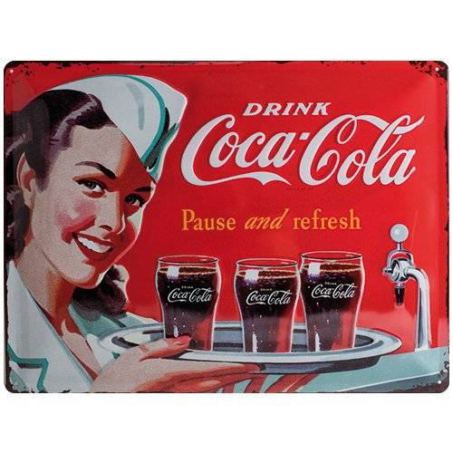 ART Nostalgic Art Coca Cola Waitress - Placa decorativa, metal, 30 x 40 cm, color rojo
