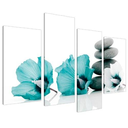 Wallfillers Large Teal Flower Floral Canvas Wall Art Pictures 130cm Set XL 4072 by Wallfillers