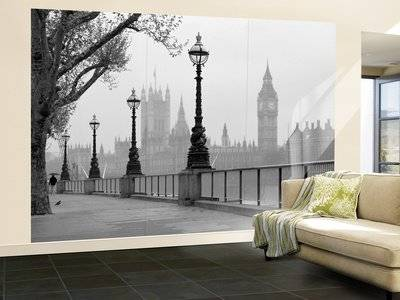 Walplus JP-TZOP-G13P - Mural de pared, 366 x 254 cm, diseño London Fog, color gris