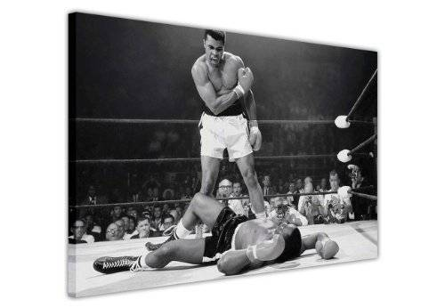 CANVAS IT UP Blanco y Negro Lienzo Impreso Legends Iconic Muhammad Ali Knockout KO Impresión Decoración Home Nostalgia Boxeo, lona madera, negro/blanco, 9- A0 - 40