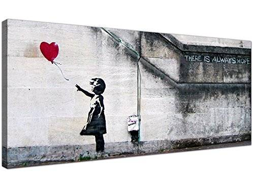 Wallfillers Large Canvas Prints of Banksy's Girl with the Red Balloon for your Dining Room - Graffiti Wall Art - 1050 - Wallfillers® by Wallfillers