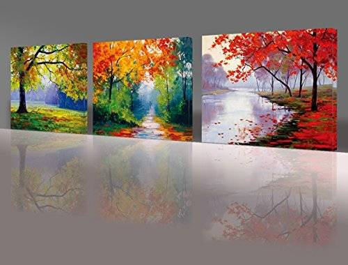 ART Nuolan Art - Framed Ready to Hang 3 Panels Modern Landscape Canvas Print Wall Art - UK-P3L3040-005 by Nuolan Art