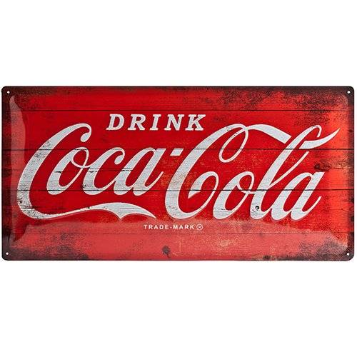 ART Nostalgic Art Coca Cola Logo Red - Placa decorativa, metal, 25 x 50 cm, color rojo y blanco