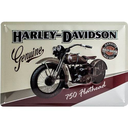ART Nostalgic Art Harley Davidson Flathead - Placa decorativa, metal, 20 x 30 cm, color beige y marrón