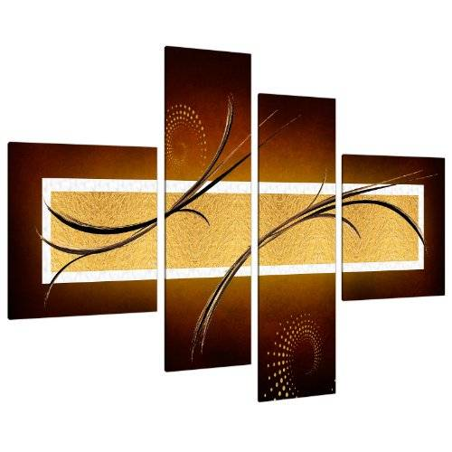 Wallfillers Large Brown Beige Gold Abstract Canvas Wall Pictures Art Prints 4090 by Wallfillers