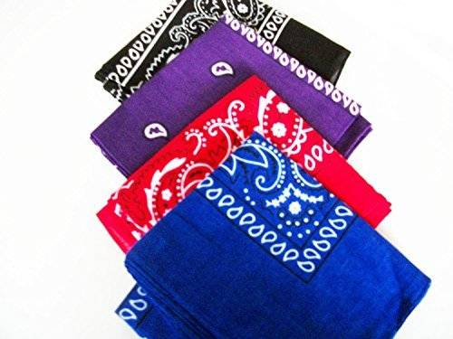 Desconocido Four Pack Paisley Design Bandanas black purple blue red. fast post by Unknown