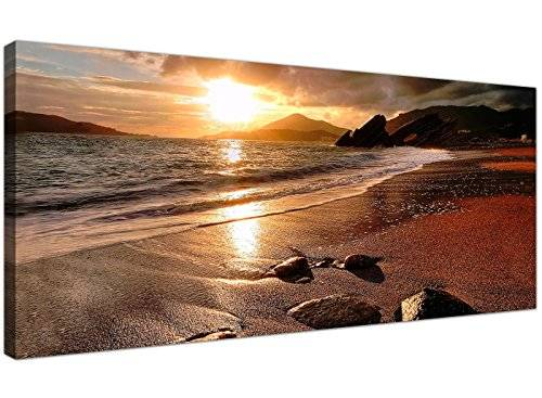 Wallfillers Wide Canvas Prints of a Beach Sunset for your Living Room - Modern Seaside Wall Art - 1131 - Wallfillers® by Wallfillers