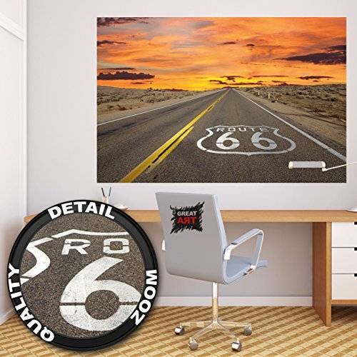 ART Póster Route 66 Mural Decoración América Carretera Chicago California Viajes Vacaciones Puesta de sol Desierto USA Decoración   foto póster mural imagen deco pared by GREAT ART (140 x 100 cm)