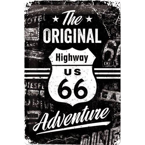 ART Nostalgic Art Route 66 The Original Adventure - Placa decorativa, metal, 20 x 30 cm, color negro