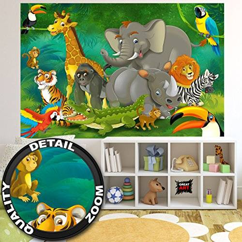 ART Tapiz de foto Cuarto de niños Selva Animales Mural Decoración Jungla Animales Zoológico Naturaleza Safari Adventure Tigre León Elefante Mono I foto-mural foto póster deco pared by GREAT ART (210x140 cm)