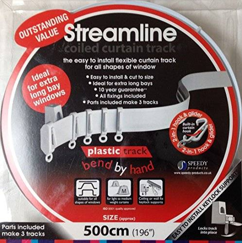 Speedy 5m BENDABLE CURTAIN TRACK FOR STRAIGHT & BAY WINDOW RAIL Enough for 3 Standard Windows, Top or Face Fix all Fixings by Speedy