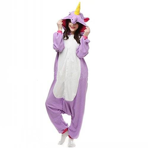 Colorfulworld Pijamas Juguetes Ropa y Juegos Animal Traje Pijama Cosplay Disfraces (S: 148-158, Purple unicorn)