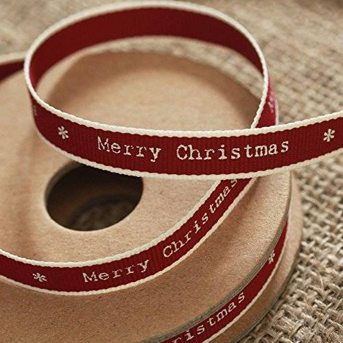 East of India 'Merry Christmas' Ribbon Red White Edging Narrow 3m Craft Xmas by East of India