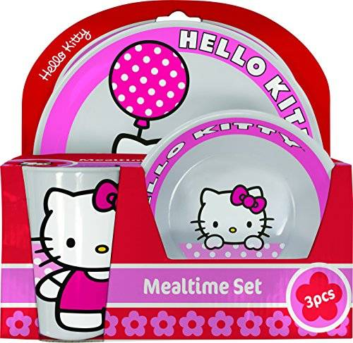 Hello Kitty BBS GO ON - Vajilla infantil, 3 piezas, estampada Hello Kitty