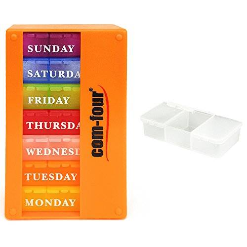 com-four COM FOUR® medicator 7 days Pill Box Organizer 1 week Morning Noon Evening - pill box with 3 compartments to go ORANGE
