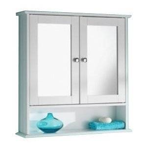 Ulti-Mate New England White Wood Double Mirrored Bathroom Wall Cabinet by Ultimate