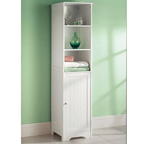 Top Home Solutions Tall Boy White Wooden Bathroom Cabinet Storage Cupoboard by Top Home Solutions