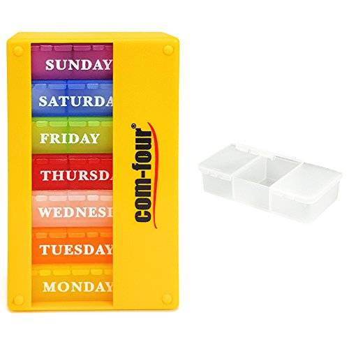 COM-FOUR COM FOUR® medicator 7 days Pill Box Organizer 1 week Morning Noon Evening - pill box with 3 compartments to go YELLOW