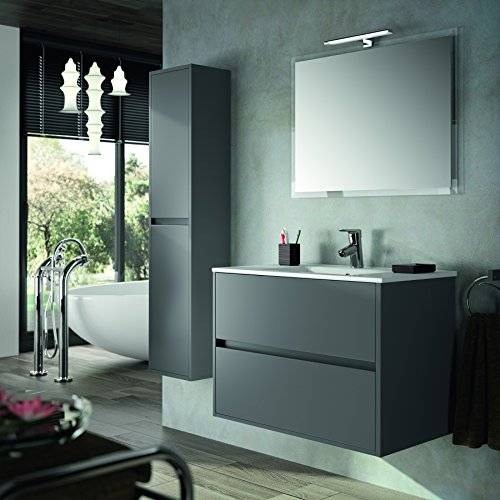 The Living Design Conjunto de Mueble de Baño NEJAR - 80cm - Gris Mate. Con Lavabo, Espejo y Aplique Led.