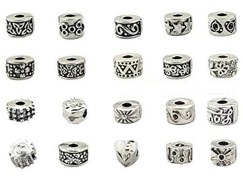 Buckets of Beads Ten (10) Pack Of Antique Silver Finish European Style Clip Lock Stopper Bead Charms
