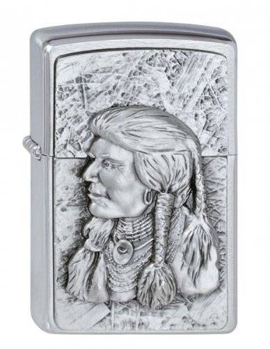 Zippo 1300135 Red Indian - Mechero con relieve con diseño de indio, color plateado