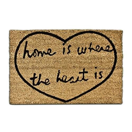 Relaxdays Home is where the heart is – Felpudo para la entrada de su hogar hecho de fibras de coco y PVC con medidas 40 x 60 cm antideslizante elemento decorativo, color natural