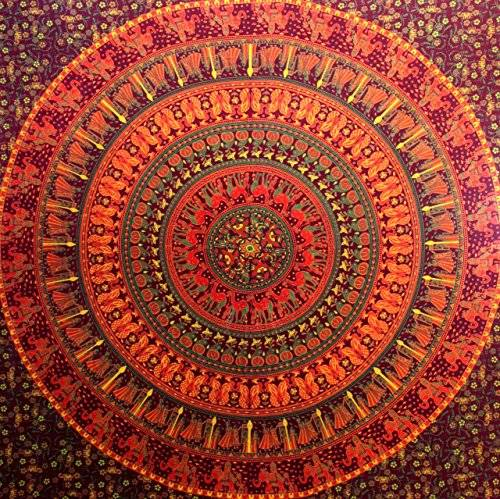 Craftozone Camel Elephant Mandala Tapestry Hippie Tapestry Mandala Tapestry Wall Hanging Wall Decor Home Decor (Maroon)