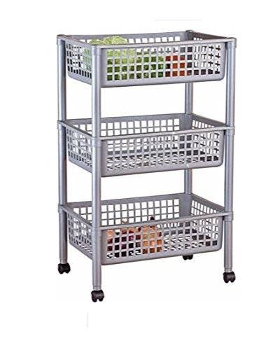 Empire Sterling Silver Effect 3 Tier Vegetable Trolley - Multi-use by Empire Sterling